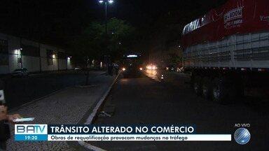 Obras de requalificação provocam mudanças no tráfego no bairro do Comércio - O local teve alguns pontos de ônibus desativados temporariamente na Avenida da França e na Avenida Estados Unidos.