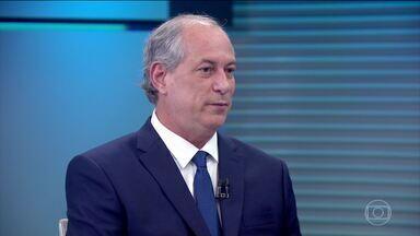 Ciro Gomes (PDT) é entrevistado no Jornal da Globo - O candidato do PDT à Presidência foi entrevistado, na bancada do JG, por Renata Lo Prete.