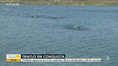 Triatletas percorrem 2 km nadando, 80 km de bicicleta e 20 km correndo; conheça - Veja no bloco de esportes do JM.