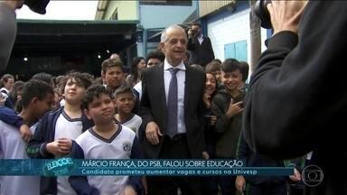 Márcio França (PSB) faz campanha no ABC Paulista - Márcio França, candidato do PSB ao governo de SP, fez campanha em uma escola municipal em Ribeirão Pires.