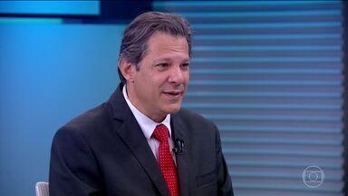 Fernando Haddad (PT) é entrevistado no Jornal da Globo - O candidato do PT à Presidência foi entrevistado, na bancada do JG, por Renata Lo Prete.