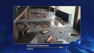Chuva forte causa estragos nas cidades da região Centro-Oeste Paulista - A chuva chegou na região causando estragos em algumas cidades. Em Lutécia (SP), o obelisco que fica na entrada do município foi destruído. E em Assis (SP), uma chuva forte com granizo causou alagamentos.