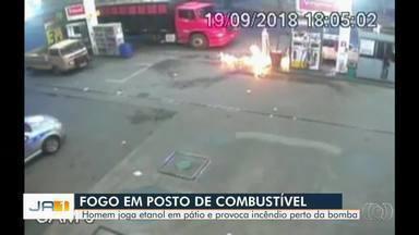 Homem invade posto de combustíveis, derrama etanol e provoca incêndio em posto de Luziânia - Chamas foram combatidas por frentista .