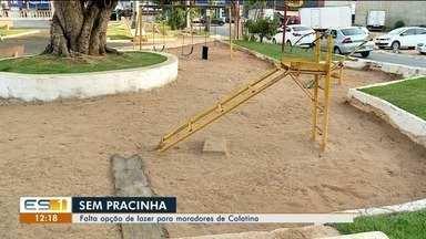 Moradores de Colatina reclamam de praça abandonada em São Silviano, no ES - Os brinquedos estão quebrados e moradores dizem que o local parou de ser muito frequentada devido as péssimas condições.