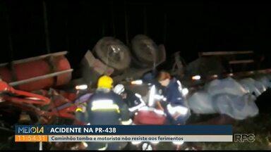 Caminhoneiro morre em acidente na PR-438, em Ponta Grossa - Acidente foi na região do Guaragi.