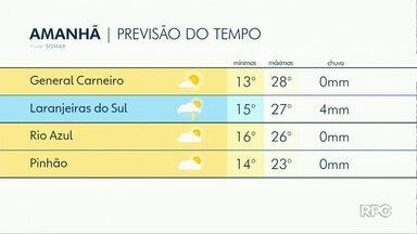 A sexta-feira será de sol em Guarapuava em região - Depois da chuva forte o tempo volta a ficar firme e aumenta as temperaturas.