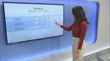 Confira a previsão do tempo para sexta-feira (21) na região de Ribeirão Preto - Temperatura máxima chega a 31°C.
