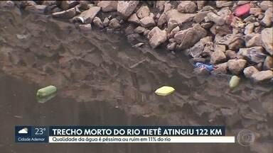 Trecho morto do rio Tietê atinge 122 km - Valor caiu em relação ao ano passado, mas ainda está longe da marca histórica de 71 km em 2014. Dados foram divulgados pela ONG SOS Mata Atlântica