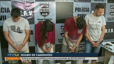 Polícia prende quadrilha especializada em roubo de caminhões - Quadrilha levava os caminhões para a Bolívia.