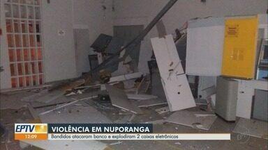 Ladrões explodem caixas eletrônicos em banco no Centro de Nuporanga, SP - Ao todo, seis pessoas agiram no furto na madrugada desta quarta-feira (26).