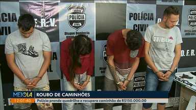 Quadrilha suspeita de roubar caminhões e agir internacionalmente é presa - Quatro jovens foram presos e uma adolescente apreendida, segundo a Delegacia de Furtos e Roubos e Veículos (DFRV) de Curitiba.