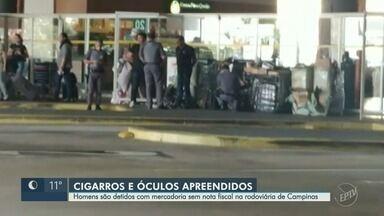 Dois homens são detidos com mercadoria sem nota fiscal na Rodoviária de Campinas - Suspeitos desembarcaram com carga de óculos e cigarros.