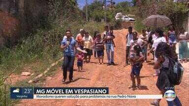 Moradores de Vespasiano cobram solução para rua abandonada - MG Móvel esteve na cidade da Região Metropolitana de Belo Horizonte.
