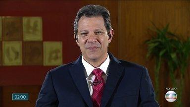 Fernando Haddad (PT) fala ao vivo no Jornal Nacional - Candidato à Presidência vai disputar o 2° turno das eleições.