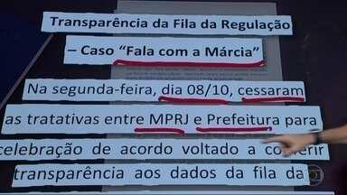 Fracassa acordo entre prefeitura do Rio e MP para transparência do Sisreg - As negociações entre a prefeitura e o Ministério Público duraram dois meses. A Procuradoria Geral do Município alegou que a assinatura do acordo tem que ser feita pela secretária de Saúde, mas o MP não aceitou.