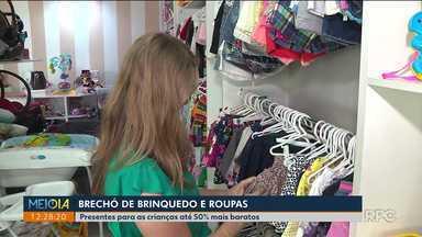 Brechó de brinquedo e de roupas - Com a baixa expectativa do comércio para as vendas no dia das crianças, comerciantes investem em alternativa para opções de presentes.