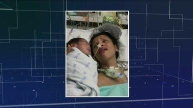 Mãe sai do coma após 23 dias, com o primeiro contato do filho recém-nascido - Amanda Cristina Alves da Silva estava grávida de 8 meses. Ela teve uma convulsão e os médicos tiveram que fazer o parto. Após 23 dias em coma, ela acordou reagiu, ao sentir o filho próximo.