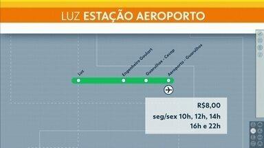 """Entra em circulação trem que vai direto da estação da Luz para o Aeroporto de Cumbica - O trem expresso vai direto, sem paradas, até a estação Aeroporto-Guarulhos e o bilhete do """"Airport Express"""" custa R$ 8 e tem cinco horários."""