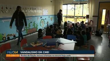 Furto de fiação deixa alunos no escuro em Cmei de Ponta Grossa - Transtorno foi na manhã desta terça-feira (16).