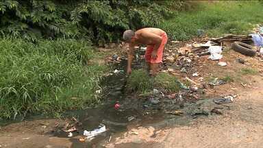 Moradores decidem limpar sozinhos galerias do Sacavém, em São Luís - Perto do bairro, na Avenida dos Africanos, o lixo prejudica até mesmo o afluente de um rio.