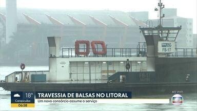 Travessia de balsa no litoral de São Paulo tem nova administração - Nova empresa assume 8 serviços, entre travessia de carros e também de pessoas. O contrato com a empresa anterior venceu.