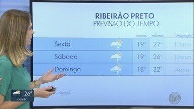 Confira a previsão do tempo para esta quinta-feira (25) em Ribeirão Preto, SP - Temperatura máxima chega aos 26°C.