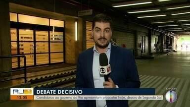 Candidatos ao governo do Rio apresentam propostas nesta quinta durante debate na Globo - Assista a seguir.