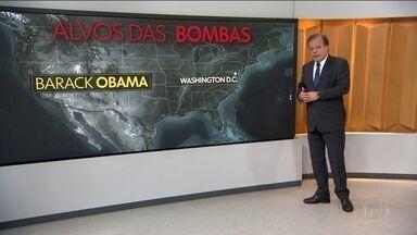 Polícia encontra 10 pacotes-bomba destinados a pessoas ligadas ao Partido Democrata - Até agora a Polícia encontrou 10 pacotes-bomba, todos destinados a integrantes ou personalidades ligados ao Partido Democrata. O ex-presidente Barack Obama também foi alvo. Um envelope foi enviado para o escritório dele em Washington.