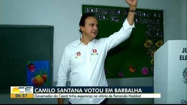 Governador Camilo Santana vota em Barbalha - Governador do Ceará, Camilo Santana, votou neste domingo em Barbalha, no Cariri. Antes do resultado, ele se mostrou confiante na vitória de Haddad nas urnas.