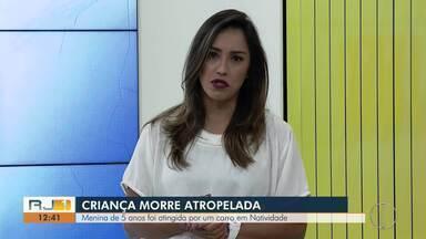 Criança de 5 anos morre atropelada em Natividade, no RJ - Acidente aconteceu na noite de domingo (28).