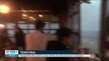 Temporal atinge Vargem Alta, no ES, e deixa estragos - Vídeo mostra desespero de clientes em restaurante.