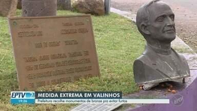 Retirada de monumentos em Valinhos após onda de furtos divide moradores - Peças de bronze serão substituídas por outras de menor valor. Até o momento, ninguém foi preso.