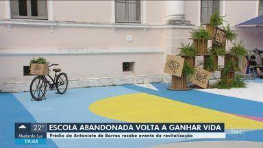 Projeto quer transformar quadra de esportes abandonada na capital em coworking público - Projeto quer transformar quadra de esportes abandonada em Florianópolis em coworking público