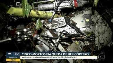 5 pessoas morreram em queda de helicóptero em Mogi das Cruzes - Aeronave caiu 40 minutos depois da decolagem.