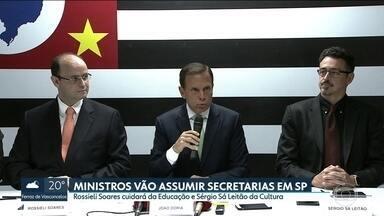 Doria anuncia mais dois secretários que hoje são ministros no governo Temer - Rossieli Soares vai assumir a secretaria da Educação e Sérgio Sá Leitão ficará com a secretaria da Cultura e Economia Criativa.