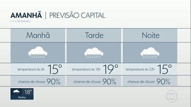 Capital terá mínima de 15ºC nesta quinta-feira - Chance de chuva é de 90% amanhã. Previsão é de chuva no fim de semana.