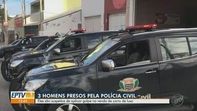 Polícia Civil prende suspeitos de aplicar golpe em clientes de carros de luxo em São Paulo - Investigação começou em Piracicaba, após 40 vítimas denunciarem o golpe. Suspeitos foram presos em Sorocaba e Guarulhos.