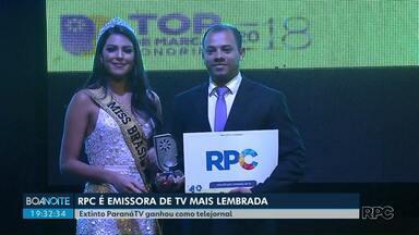 RPC foi a emissora de televisão mais lembrada pelos londrinenses no Top de Marcas - ParanáTV, que se transformou no Meio Dia Paraná e no Boa Noite Paraná, foi o telejornal mais lembrado.