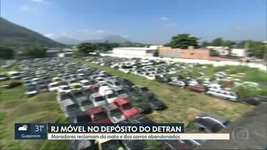 O RJ Móvel começou a semana em Senador Vasconcelos - Os moradores reclamam de um depósito do Detran, cheio de mato e carros abandonados