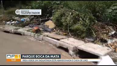 Parque Boca da Mata está abandonado e cheio de lixo - No meio da área verde, que fica em Taguatinga, tem montanhas de lixo e entulho. Moradores dizem que o SLU só recolhe o que fica na calçada, mas dentro do parque não. A preocupação é que isso vá para o córrego e para as nascentes.