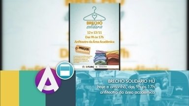 Brechó Solidário é realizado no Hospital Universitário de Rio Grande - Ação social vai até terça-feira e é um dos destaques da agenda cultural do Jornal do Almoço.