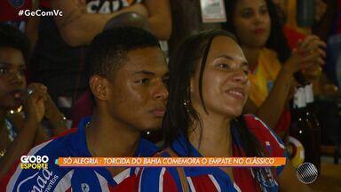 Torcedores do Bahia empate com o Vitória durante o clássico pelo Brasileirão 2018 - A partida aconteceu no Estádio do Barradão, em Salvador.
