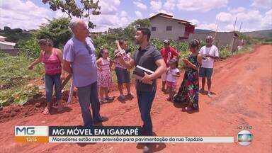 MG Móvel volta a Igarapé para conferir situação da rua Topázio - Metade da rua tem asfalto, a outra metade não. Prefeitura deixou moradores sem previsão de obras para o local.
