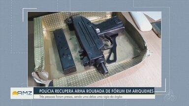 Polícia recupera submetralhadora e coletes roubados do Fórum de Ariquemes - Objetos foram recuperados após denúncias anônimas na noite da última quarta-feira (14). Três pessoas foram presas.