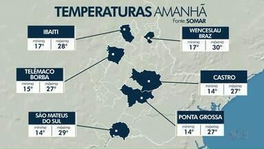 Sábado (17) vai ser de sol, mas domingo (18) pode ser chuvoso na região dos Campos Gerais - Confira a previsão do tempo.