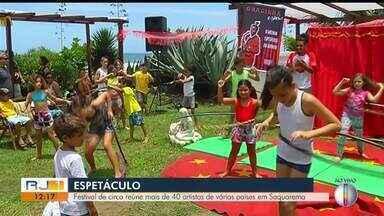 Festival de circo reúne mais de 40 artistas de vários países em Saquarema, no RJ - Assista a seguir.