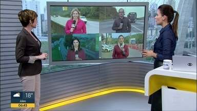 Volta do feriadão: giro pelas estradas do interior de São Paulo nesta terça-feira (20) - Repórteres do Bom Dia SP atualizam as informações nos Sistema Anchieta-Imigrantes e Anhanguera-Bandeirantes, e também nas rodovias Raposo Tavares e Mogi-Bertioga