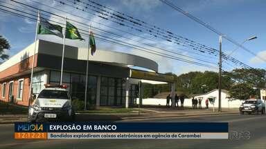 Bandidos explodem caixas eletrônicos de agência em Carambeí - Segundo a polícia eles não conseguiram levar dinheiro.