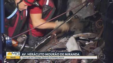 Homem morre após carro cair em córrego em Belo Horizonte - Acidente aconteceu na Região da Pampulha e um homem tentou salvar vítima.
