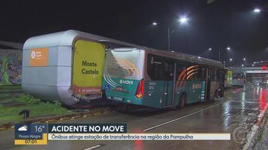 Ônibus atinge estação de transferência na Região da Pampulha, em BH - Veículo se envolveu em acidente na noite desta terça no bairro Santa Branca.